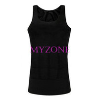 Cheap New Arrival Men Slimming Vest Shirt top tank Corset Body Shaper Fatty Black White 4 sizes 3247