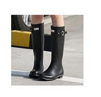Wholesale 2014 Brand New Women Fashion Rubber Rain boots Woman Knee High Waterproof Wellies Rainboots Water Shoes High Quality shoe