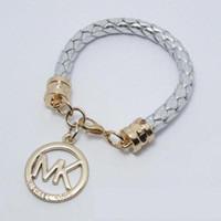 Wholesale Fashion Silver M Words Michael handwoven Pendant Bracelet