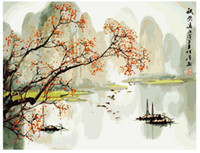 Wholesale Hand painted oil painting by numbers DIY Paint Acrylic Drawing With Brush Paints Home Decorating Autumn dye in lijiang