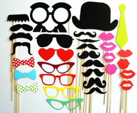 Wholesale Photo Booth Props Set Mustache On Stick Wedding Party Photobooth Funny Masks Bridesmaid Gifts For Wedding decoration