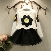 Wholesale Sunny Girls Sets Autumn Cotton Sunflower Pullover Braces Dress Dressy Princess Set Outfits Children Clothes Black White K1207
