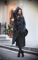 Wholesale Fashion Luxury Woman Winter Sweater Wool blend rabbit fur Knit Sweaters Dress Outwear Gray XMAS GIFT