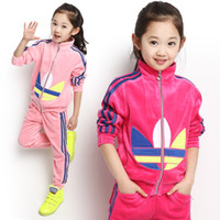 Wholesale Retail Autumn children clothes set baby boy girls clothing sets Velvet full casual suits Sweater pants T