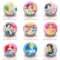 button badge - 45pcs cm inch Princess Snow White Lovely Brooch Badges fashion Cartoon Logo Buttons pins badges party gift Kids Love Collection Gifts