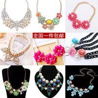 Cheap Korean fashion jewelry pearl flower gem diamond exaggerated amounts of short chain Bonelink clothing accessories pendants