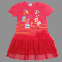 Wholesale Red White Summer Girl Clothing Short Sleeve Peppa Pig Polka Dots Gauze Lace Dress Kids Clothes George Pigs Ruffle Yarn Dress M1553