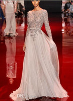 Cheap 2014 Distinctive NEWAppliqued And Beaded Decorated Elie Saab Prom Dresses Bateau Sheer Long Sleeve A-Line Floor-Length Chiffon Evening Gowns