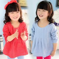 Wholesale 2014 Autumn new Korean children clothing baby child grid round neck long sleeved dress son qz