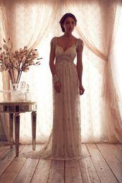 Wholesale 2014 Luxury Anna Campbell Cap Sleeve Wedding Dress Vintage Beads Lace Caystal Beach Bridal Gowns Sexy Plus Size Vestido De Noiva