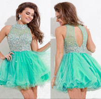 Cheap Wow!!Sterling Sexy Short Dress Prom High Neck Sleeveless Beads Rhinestones High Neck Keyhole Back A Line Short Mini College Homecoming Dress