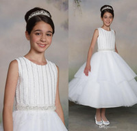 Cheap 2015 Toddler Girl Pageant Dresses Jewel Neck With Beading Organza White Tea-Length Ball Birthday Party Gowns MG02 Stylish Teens Young Dress