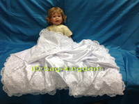 baby girl receiving blankets - Baby Receiving Blankets white silk with applique and beaded CM CM Custom made size