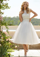 2014 Sheer Bridal Jacket - New Arrival Wedding Dresses White Lace and Tulle A line Tea Length Sweetheart Sheer Garden Bridal Gown With Jacket