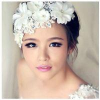 Wholesale Bridal Lace Pearl Wedding Accessories Handmade Rhinestone Crystals Flower Headband Wedding Hair Jewelry Beads Bridal Hairwear N15
