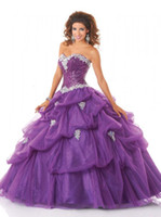 Wholesale 2015 Crystal Purple Quinceanera Dresses Sweetheart Sleeveless With Sequins Lace up Floor Length Tulle Fashion Ball Gown Debutante Gowns
