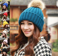 Wholesale New High Grade Rabbit Fur Ball Decorate Hats For Women Knitted Caps For Winter Colors For Choose