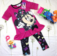Wholesale Baby Girls Minnie Mouse Clothing Kids Autumn Clothes Set Cartoon Long Sleeve Tunic Tops Leggings Pants Piece Cotton Outfits