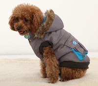 Wholesale Pet Clothes Winter Warm Dog Cotton Removeable Hoodie Padded Coat Quilted Jacket with Real Pocket Large Dog Coat