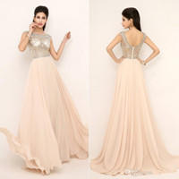 Cheap New 2015 Prom Pageant Evening Dresses Formal Gowns With Nude Red Aqua Full Beaded Top Sheer Neckline Rhinestone Sexy Prom Gown