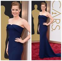 Wholesale Classic th Oscar Awards Red Carpet Celebrity Dresses Strapless Sleeveless Mermaid Sweep Train Amy Adams Evening Dress Gown Custom Made