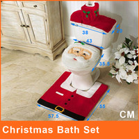 Wholesale Christmas Toilet Seat Covers Santa Toilet Seat Cover and Rug Set Contour rug and tank Cover