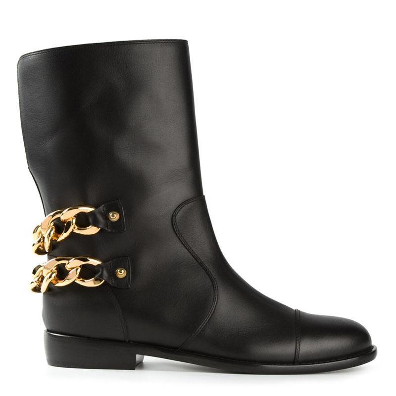 Woman Short Boots Flat Women Black Bind Belt Buckles Chain Metal ...