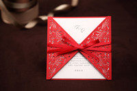 Cheap Custom-made Red Wedding Invitations Card with Envelope Wedding Favors BOW Decoration Wedding Product