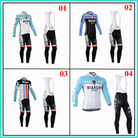Wholesale 2014 Bianchi long sleeves bid cycling jersey cycling team jersey fashion cycling jerseys bib shorts both for man and women