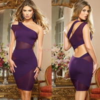 bandage dress - 2014 Women s Sexy Nightclub Bandage Dress One Shoulder Cut Out Mesh Evening Party Dress Clubwear SV000460