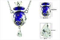 murano glass - Pendants Essential Oil Bottle Necklace Murano Glass Perfume bottle Necklace Purple alloy