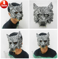 soft PU backed head - Grey Silver Wolf Mask Scary Halloween Party Mask Masquerade Mask Soft PU Animal Head Horror Mask mardi gras costume on sale