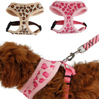 Wholesale Pet Harness Dog Cat Leopard Pink Beige Adjustable Cute Collar Safety Control Size S M Outdoor Walking Pink Beige Leopard