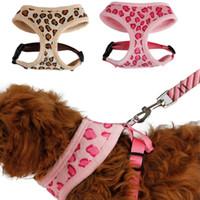 Wholesale Pet Harness Dog Cat Leopard Pink Beige Adjustable Cute Collar Safety Control Size S M Outdoor Walking Pink Beige Leopard