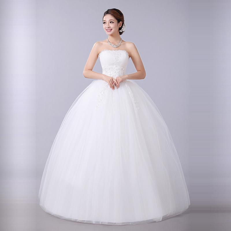 Princess Bridal White Ball Gown Flower Tube Top Wedding Dresses ...