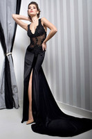 n455 - Amazing Sexy Slit Black V Neck Lace Applique Taffeta Sheath Prom Dresses Evening Gowns N455