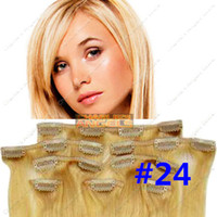 Wholesale 15 inch g g g set Real Human hair Clip In On Hair Extensions Blonde Colors Optional