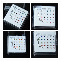 Wholesale Nose body jewelry mix colors sterling silver nose rings and stud piercing body jewelry