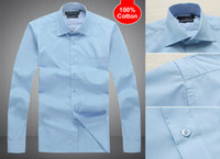 1PCS Men Long Sleeve 100% Cotton dress shirts men' s Sui...