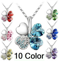 Wholesale Fashion Romantic Austria Crystal Clover Flower drop Pendant Necklace with swarovski elements multi color necklace color options a445