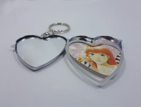Wholesale 500X Blank Metal Heart Keychains Insert Photo Keyrings