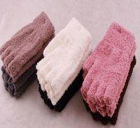 Wholesale popular Coral fleece gloves for girls durable gloves for women lovely gloves fingerless mittens warm gloves pairs