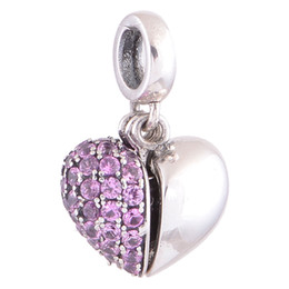 Wholesale Crystal Rhinestone Jewelry Platinum With Austria Crystal Silver Jewelry Sets Pink Heart Dangle Charms fit European Bracelets No YZ350