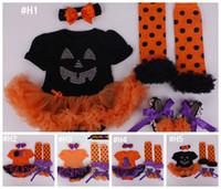 american baby crib - Baby Girls pc HALLOWEEN Set M pumpkin tutu romper crib shoes legwarmer lace Ruffled Black Orange headband outfit