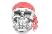 Cheap Wholesale-3pcs lot Hot sale! Eco-friendly Electroplate Mask Silver Pirate skull devil mask for halloween Masquerade Party Free Shipping