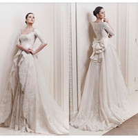 Wholesale 2014 Lace A line Wedding Dresses Long Sleeves V Neck Zuhair Murad Detachable Bow knot Sash Court Train Bridal Gowns BO0257