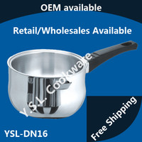 Wholesale Professional Commercial Stainless Steel Double Wall Milk Pan Induction Saucepan Cookware