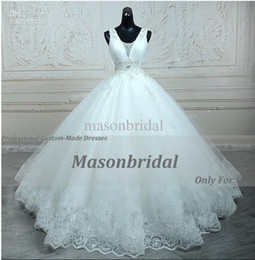 Wholesale 2015 Sexy Ball Gowns V Neck Straps Beads Crystal Organza and Tulle Lace Wedding Dresses Bridal Gown With A line Embroidery Beading