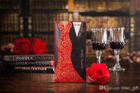 Wholesale 2015 Beautiful Bride Bridegroom Dressed Personalized Printing Red Folded Wedding Invitations Cards New Design