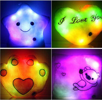 Wholesale Colorful Glow Stuffed Animals Bear Paw Stars Plush Pillow LED Lighted Cushion For Kids Toys Wedding Christmas Birthday Valentine s Day Gifts
